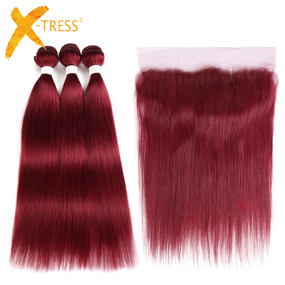 Burg Red Color Lace Frontal With Human Hair Bundle Pack X-TRESS Brazilian Straight Non-Remy Hair Weave 3 Bundles With Frontal
