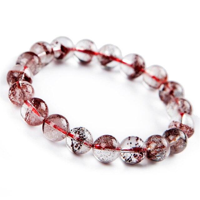 Genuine Natural Red Phantom Quartz Ash Volcanic Stone Women Crystal Bracelet 10mm