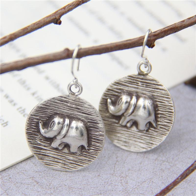 C&R Real 925 Sterling Silver Earrings for Women Handmade Round Molding Elephan Thai Silver Drop Earrings Handmade Fine Jewelry