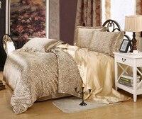 סאטן משי סט מצעים שמיכת מכסה כיסויי מיטה בגודל קינג מלכה מלאה תאום לעיצוב חדר השינה עור חומה נמר סקסי מודפס