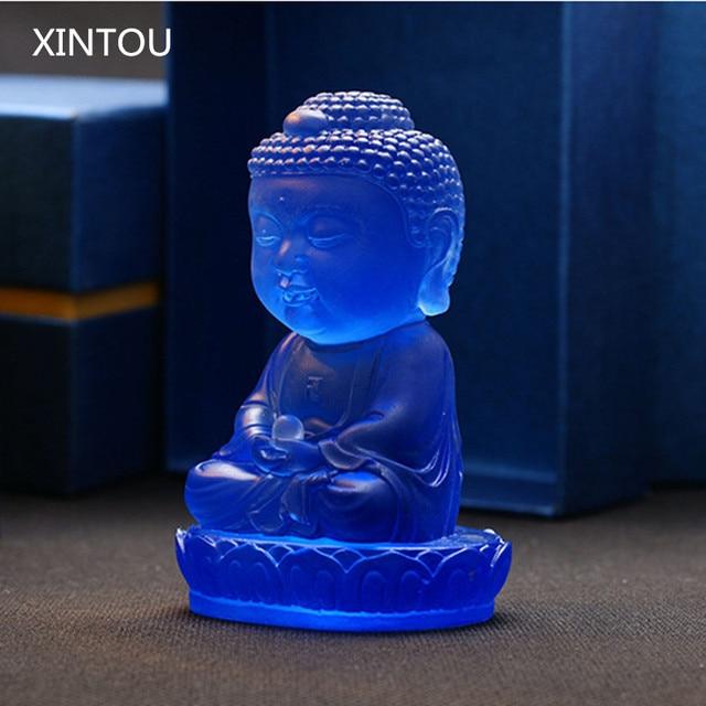 XINTOU India Buddhism Buddha Statue Figurines Blue Feng Shui Home Decor  Clored Glaze Buda Sculpture Statues