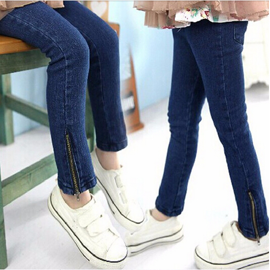 2016 Kids Retail Children girls skinny jeans Baby Girl pants Denim Fashion blue color Zipper Trousers for 2-7 years Leggings