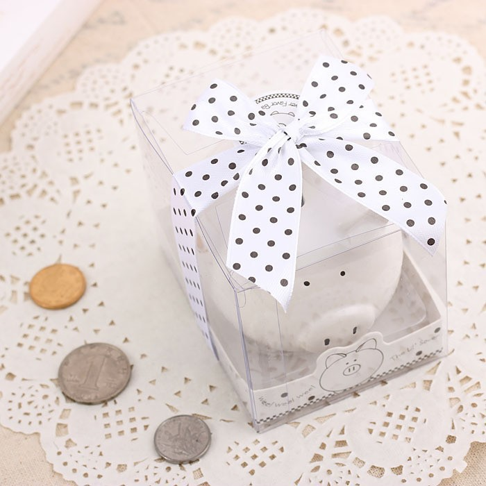 buy wedding favor piggy pork gift and baby shower giveaways for guest lovely ceramic white pig bank storage tanks 100pcslot from reliable