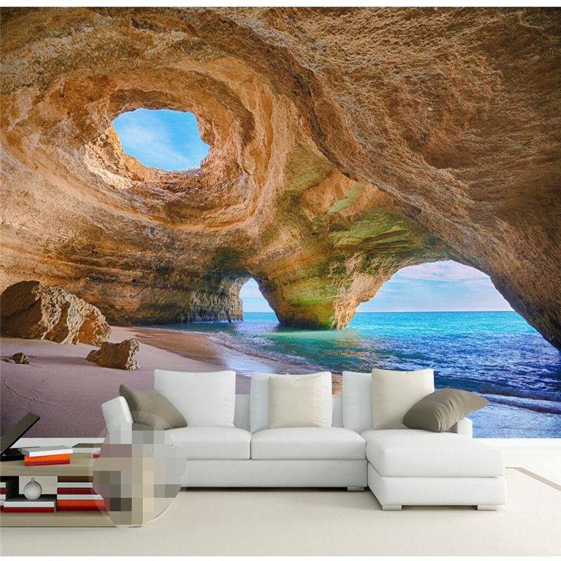3D Mural Wallpaper Home Decor Background Photography Natural Cave Marvel  Coast Landscape Bathroom Wall Mural For Living Room In Wallpapers From Home  ...