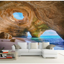 3D Mural Wallpaper Home Decor Background Fotografía Natural Cueva Maravilla Costa Paisaje Pared del Baño Mural para Sala de estar