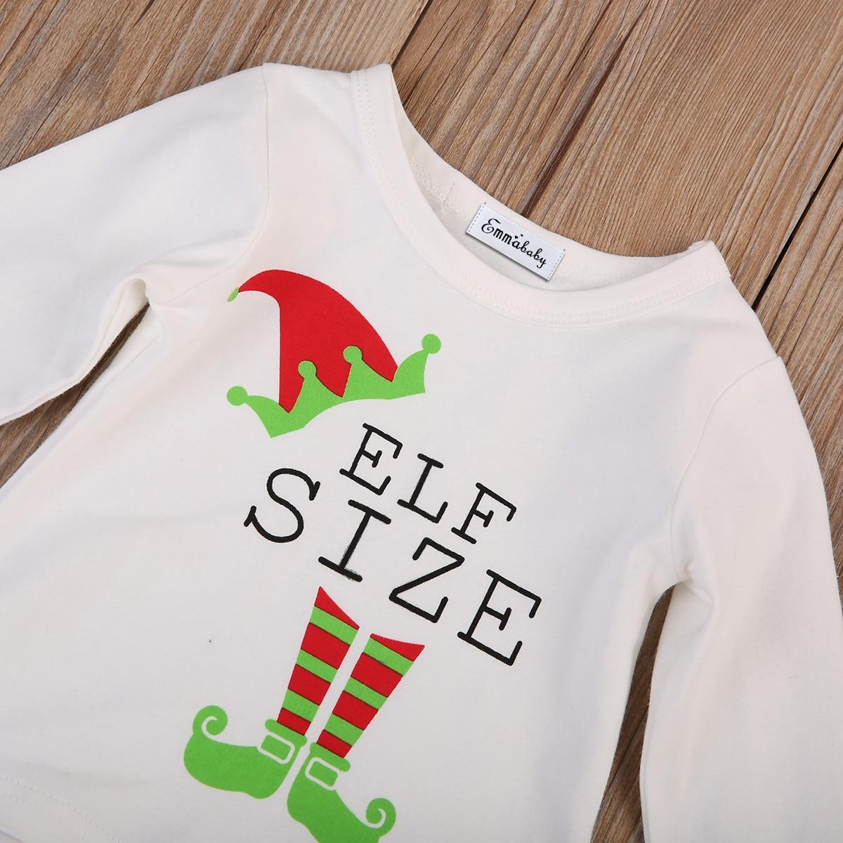 Младенцев 2 шт. Рождественский комплект одежды PJS Наборы для ухода за кожей милые детские футболка для девочек, для мальчиков топы, штаны дет...