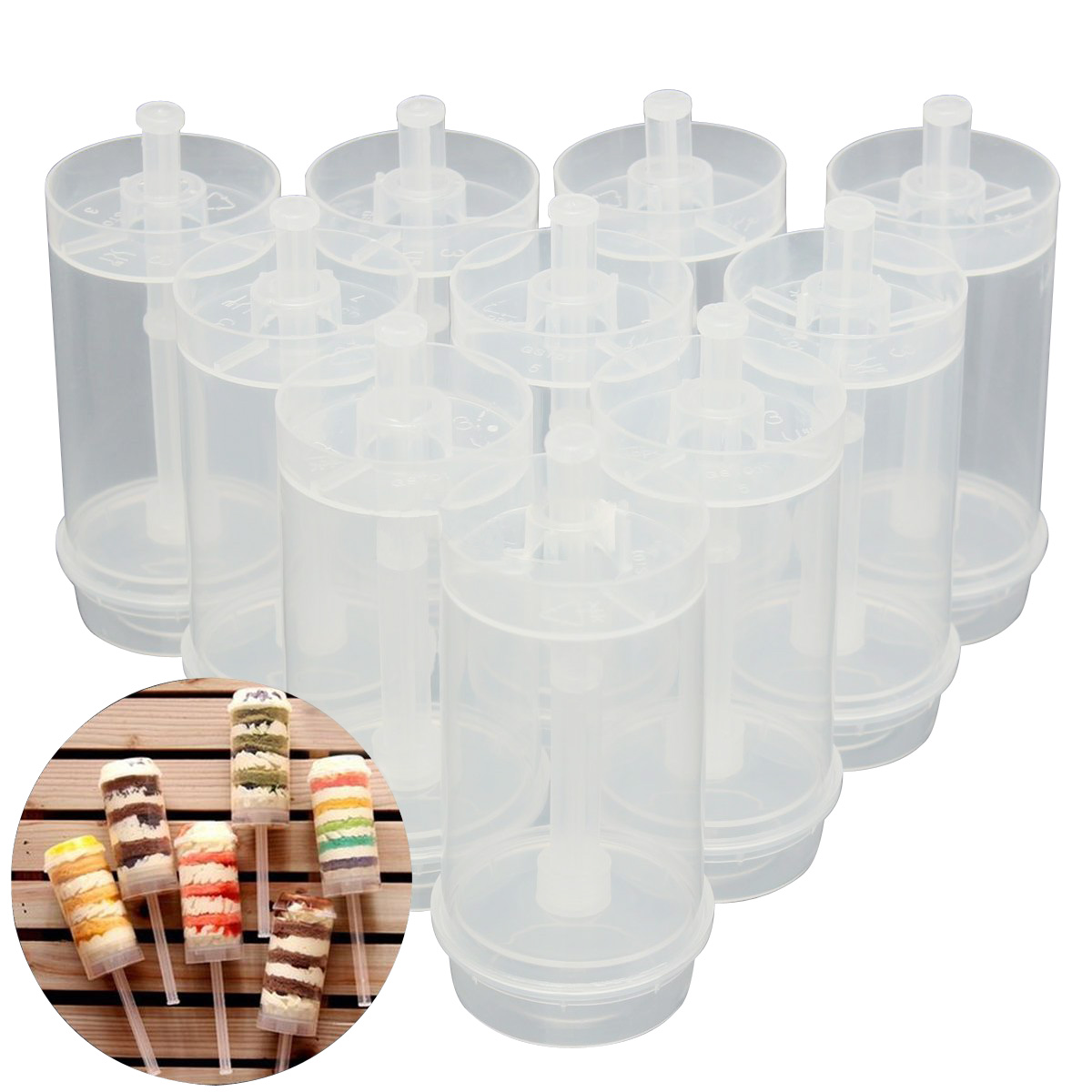 50x Cakes Dessert Push Up Pop Containers Shooter Pop for Party Use
