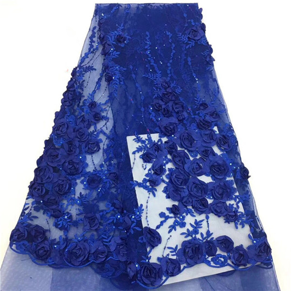 High class 3D flower French net lace fabric nice tulle lace material for evening dress PNZ617(5yards/lot)