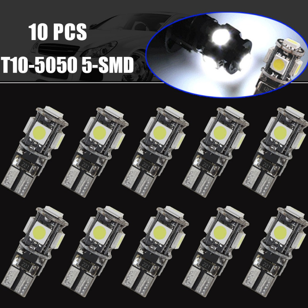 Brand New 10x T10 5050 5 Smd Led W5w 194 168 Interior Canbus Error Wiring Harness Free Bulbs White Light