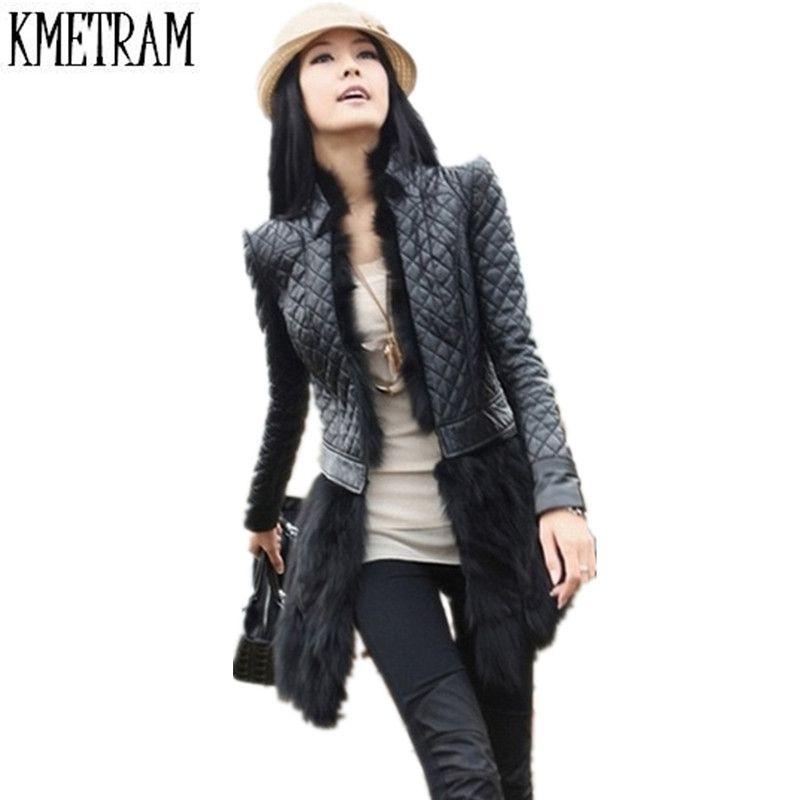 European Style Rabbit Fur Coat Leather Jacket Women Plus Size 6XL 2019 New Autumn Winter Medium