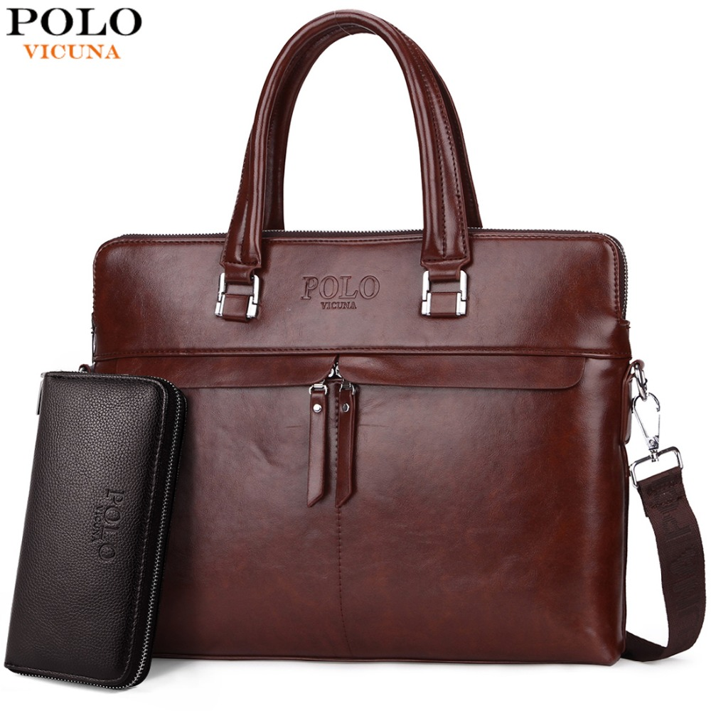 d9858c764e VICUNA POLO Causal Business Double Layer Business Man Briefcase Large Brand  Mens Leather Laptop Bags OL Men Shoulder Bag Handbag