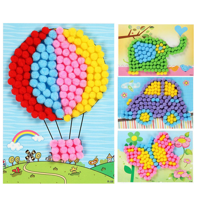 1PC New Baby Creative DIY Plush Ball Painting Stickers Children Educational Handmade Material Cartoon Puzzles Crafts Toy Kids
