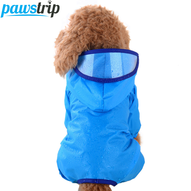 pawstrip Candy Color Waterproof Dog Clothes Puppy Coat With Hat Brim Pomeranian Poodle Pet Dog Raincoat For Small Dogs XS-XL