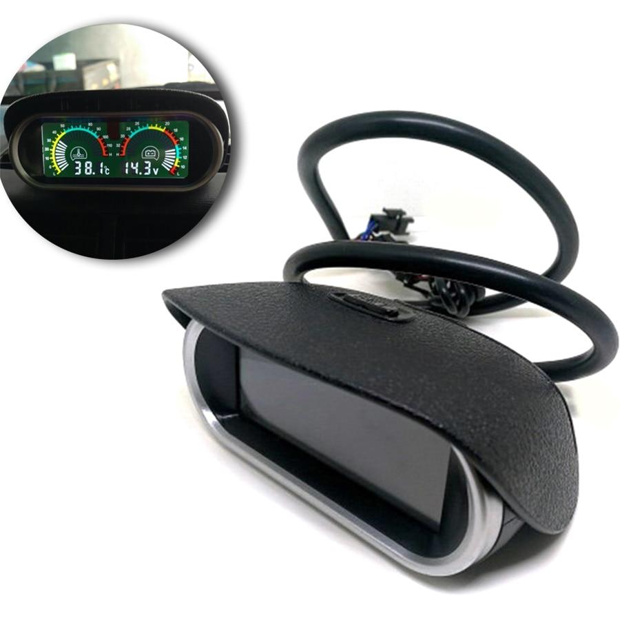 2 In 1 Horizontal 12v/24v LCD Digital Car Truck Water Temperature Gauge Meter Voltmeter Voltage Gauge Sunshield Universal