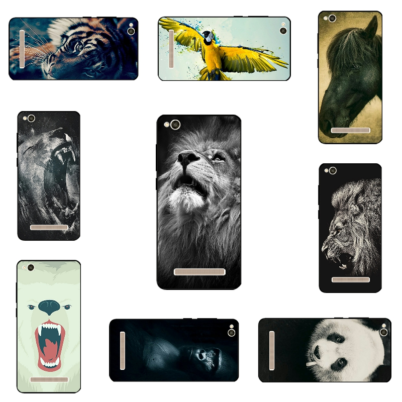 5.0 дюймов телефон case для xiaomi redmi 4a черный мягкие tpu крышка Ультра Тонкий Полный Кожи Для Hongmi 4А Оболочки Животного Мира Fundas