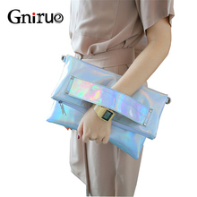 Opvouwbare Silver Avond Clutch Bags Fashion Schoudertassen Hoge Kwaliteit Handtassen Lady Envelop Cross Body Bag Holografische