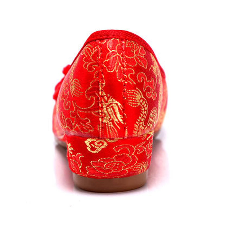 Femmes Broderie Chaussures Chinois Rouge Mariage Cheongsam Pour De Mariée Appartements Vieux Phoenix National Unique Pékin Dragon rArBw1Rq