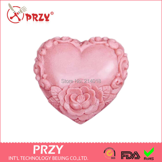 Valentine\'s Day DIY heart /rose shape handmade soap mold candle ...