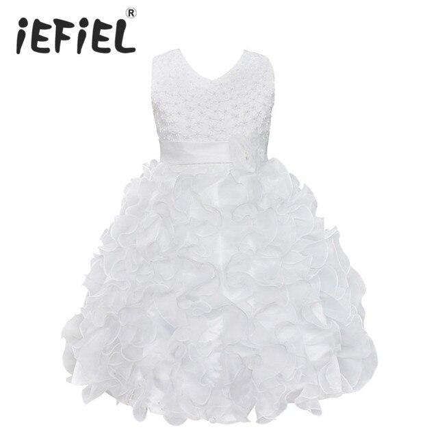 Nueva flor de alta calidad para niña, vestido de princesa Pageant para niña pequeña, regalo, vestidos de primera comunión de Organza