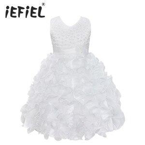 Image 1 - Yüksek Kaliteli Yeni Çiçek Kız Parti Nedime Pageant Prenses Elbise Küçük Kızlar Için Hediye Organze Ilk Cemaat Elbiseler