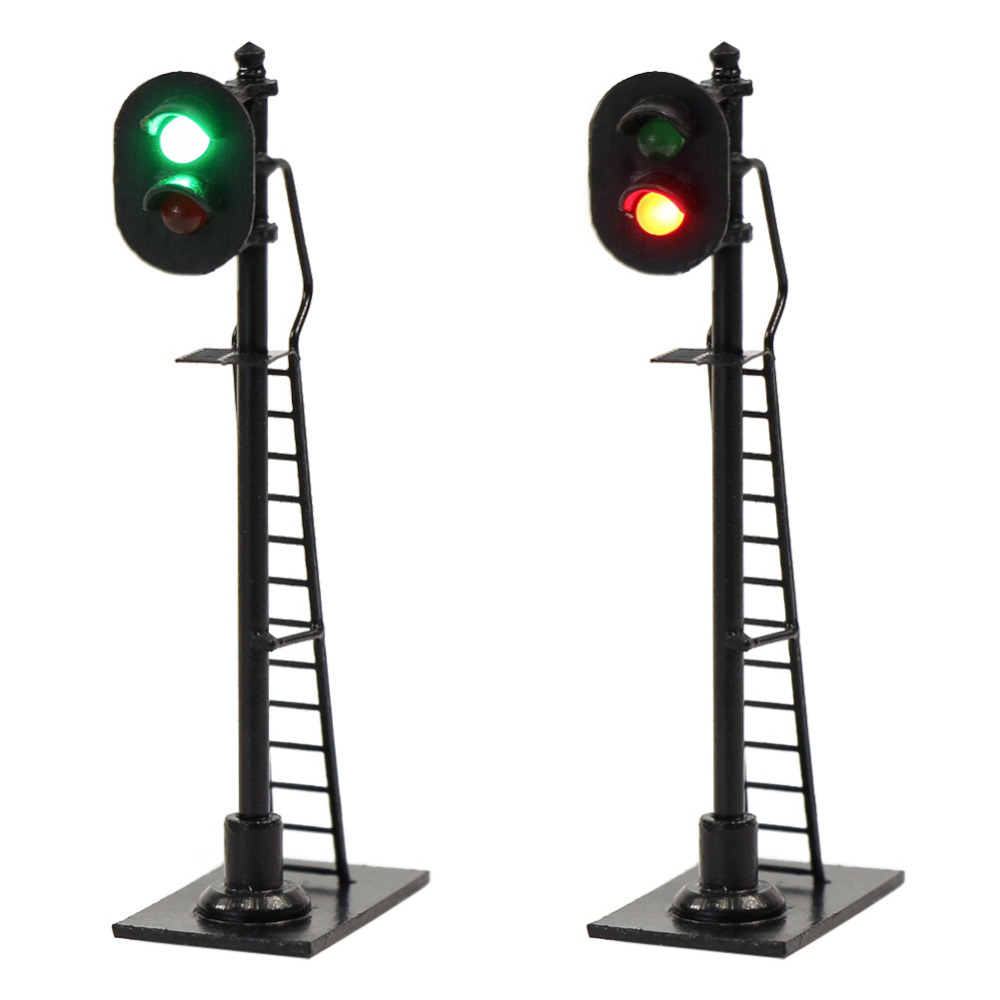 3pcs Model Railway 1:87 Red Green Block Signal Traffic Signals HO Scale 6cm Traffic Light Black Post with Ladder JTD878GR
