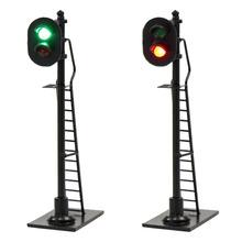 3pcs Model Railway HO Scale 1:87 2 aspects Block Signal Red Green Traffic Signals 6cm Black Post with Ladder