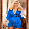 women's Bathrobes  nightgown plus size lace cuff sexy  with belt sleepwear