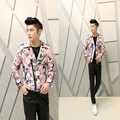 2017 new man fashion casual Chinese style floral jacket Men's Korean Slim PU leather jacket print hairstylist male leather coat