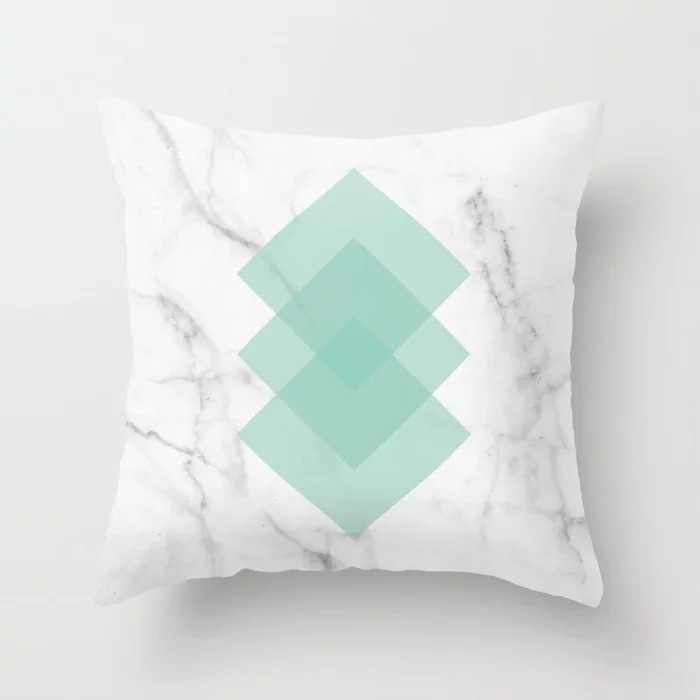 Zengia Biru/Hijau Geometris Bantal Penutup 45 Cm X 45 Cm Tekstur Marmer Melempar Bantal Case Bantal Cover untuk Sofa /Dekorasi Rumah Sarung Bantal
