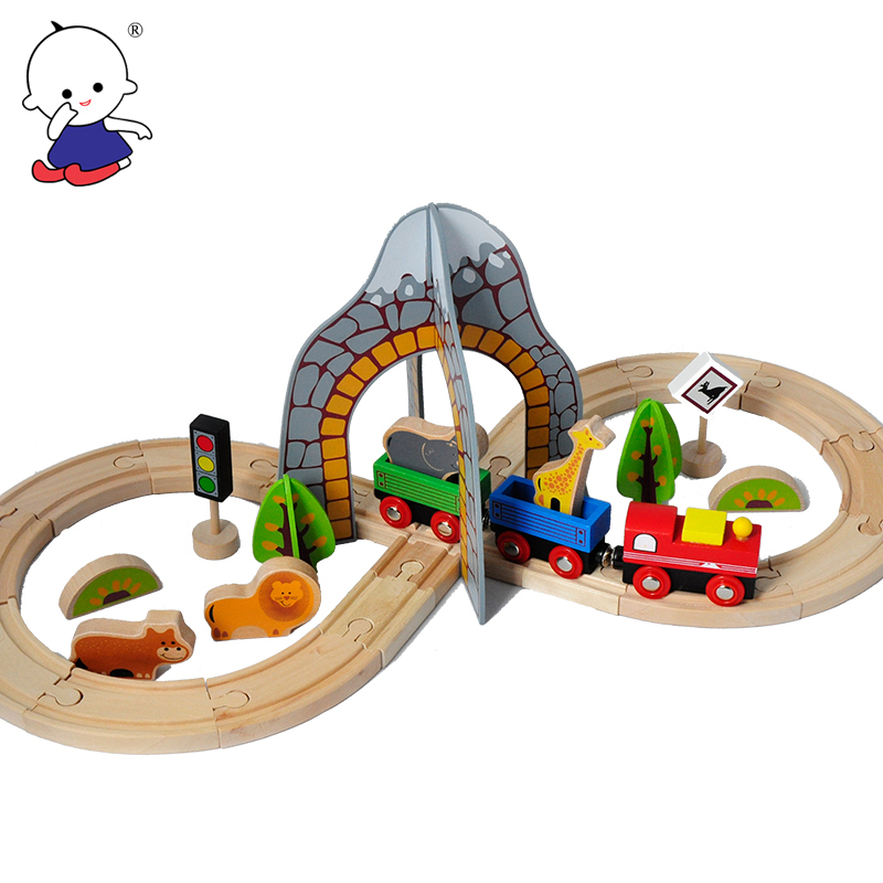 New Hot Wooden Thomas Train Track Set Model Toy Puzzle Children's Toys For Children's Best Christmas Gift Kids Toys On Stock d418 thomas train track toy electric toy happy farm gift set eyes will move