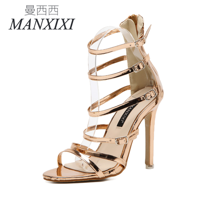 ManXiXi Gladiator Summer Style women s sexy high heels Sandals Buckle Strap  Narrow Band shoes woman US5-9 Black Silver Champagne 9814fe19c978