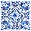 60 См * 60 См Классический Синий и Белый Фарфор и Цветы Весной MS Эмуляции Шелк Небольшой Площади Шарфы 2017 Новая Мода стиль