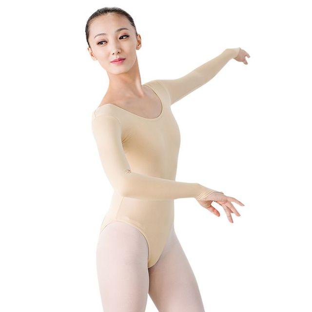 95a438e7f32f Women Ladies Long Sleeve Skin Color Turtleneck Dance Leotard Sexy ...
