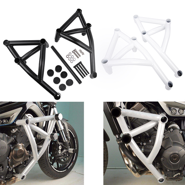 Black Stunt Cage Engine Guard Crash bar Cover Protector for 2014 2015 2016 Yamaha MT FZ