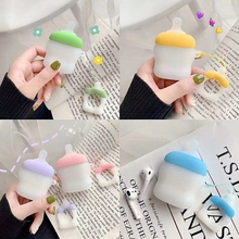 Tfshining Cute Milk Bottle For AirPods Case Bluetooth Wireless Earphone Apple Airpods 2 Charging Box Protective Cover