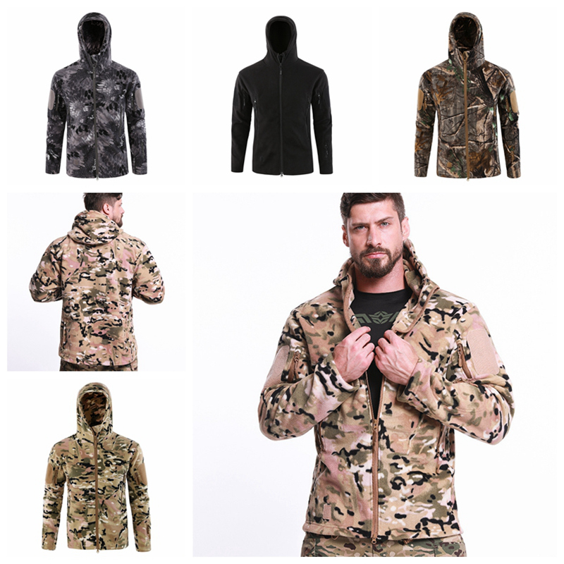 Soft Shell Military Tactical Jacket Hooded Men Waterproof Army Fleece Clothes Shark Skin Multicam Camo Windbreaker Hunt Coat 3XL(China)