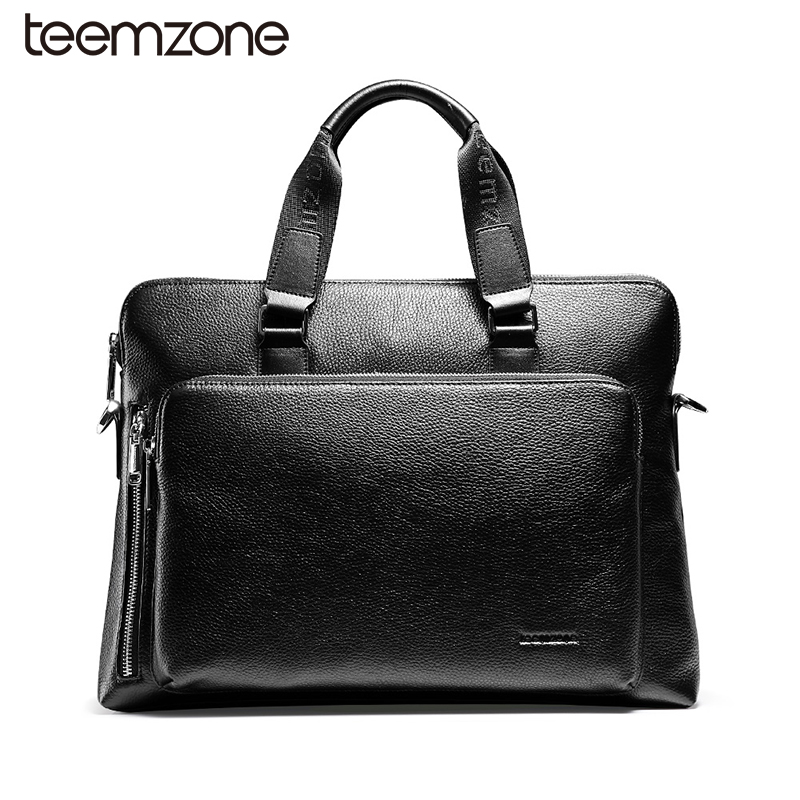 teemzone Document Zipper Laptop Genuine Leather Briefcase Business Man 14 Laptop Portfolio Executive Briefcase Lawyer Bag T0823 portable genuine leather man briefcase economic document bag 7060309