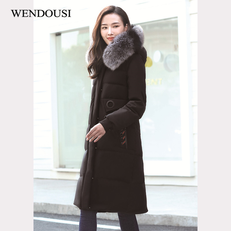 WENDOUSI Winter Women Down Coat Jacket Warm Fashion Outwear Female Coat Thick Raccoon Fur Collar Hooded Down Ootwear XY592