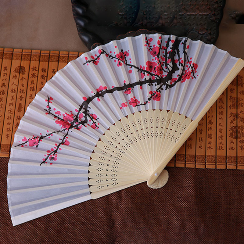 Vintage Bamboo Folding Hand Held Spun Silk Plum Flower Fan Chinese Dance Retro Hand Fan Event Party Pocket Wedding Decor in Decorative Fans from Home Garden