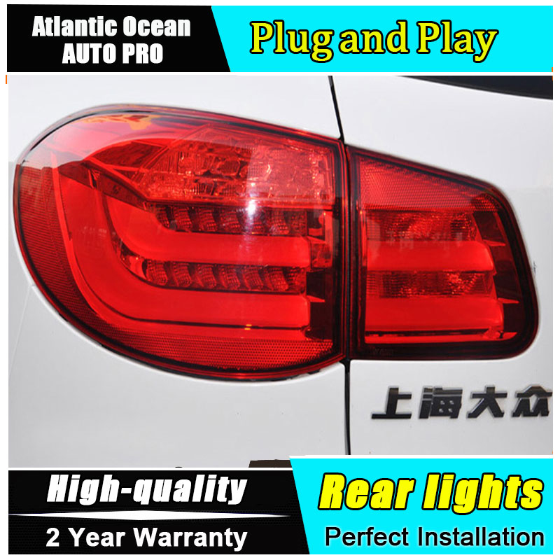 Car Styling for VW Tiguan Taillights 2010-2012 for Tiguan LED Tail Lamp Rear Lamp LED Fog Light DRL+Brake+Park+Signal lights fit for volkswagen vw tiguan rear trunk scuff plate stainless steel 2010 2011 2012 2013 tiguan car styling auto accessories