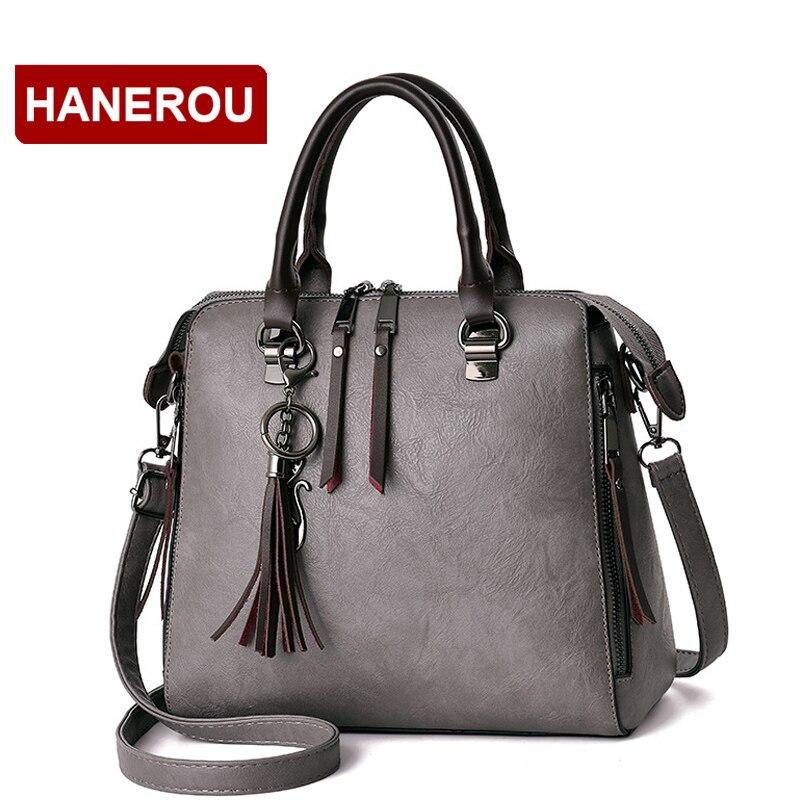 Women Leather Handbags Shoulder Bag Women's Casual Tassel Tote Bag Female Vintage Handbags Sac a Main Ladies Hand Bags skullies