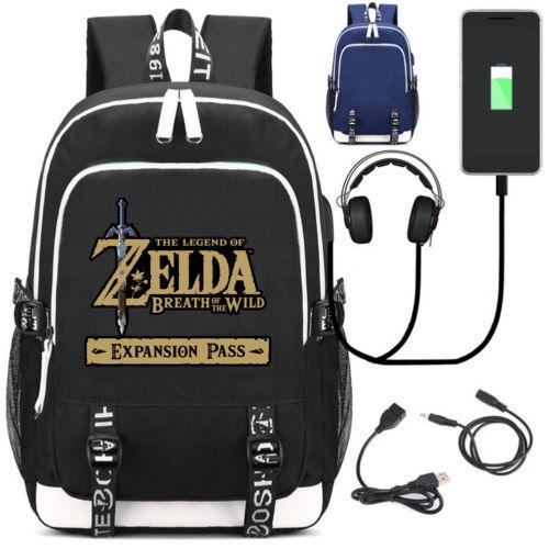 New Zelda School Backpack Bags USB Charge Interface Travel Laptop Bag Hylian Shield Breath of the Wild Sheikah Eye BackpackNew Zelda School Backpack Bags USB Charge Interface Travel Laptop Bag Hylian Shield Breath of the Wild Sheikah Eye Backpack