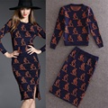 2015 New Autumn Crop Top And Skirt Set Kangaroos Pattern Knit Sweater Package Hip Split Skirts 2 Piece Set Women  Y546
