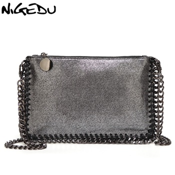 NIGEDU Fashion Woven Chain Bag Shoulder Bag for Women Clutches PU Messenger Bag Small Clutch purse Bolsa stella Handbags wallet