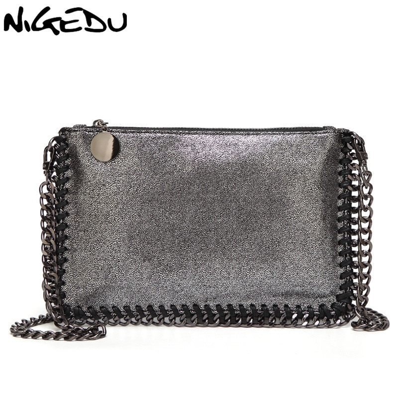 NIGEDU Fashion Woven Chain Bag Shoulder Bag for Women Clutches PU Messenger Bag Small Clutch purse Bolsa stella Handbags wallet цена