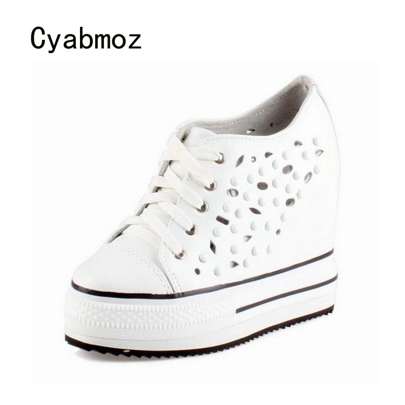 Cyabmoz Platform High heels Women Shoes Woman Genuine Leather Hollow Rivet Height Increasing Ladies Zapatos Mujer Tenis Feminino 360ml