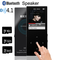 Bluetooth HIFI MP3 Player 8G Touch Key Black MP3 With Pedo Meter Recorder E Book Video