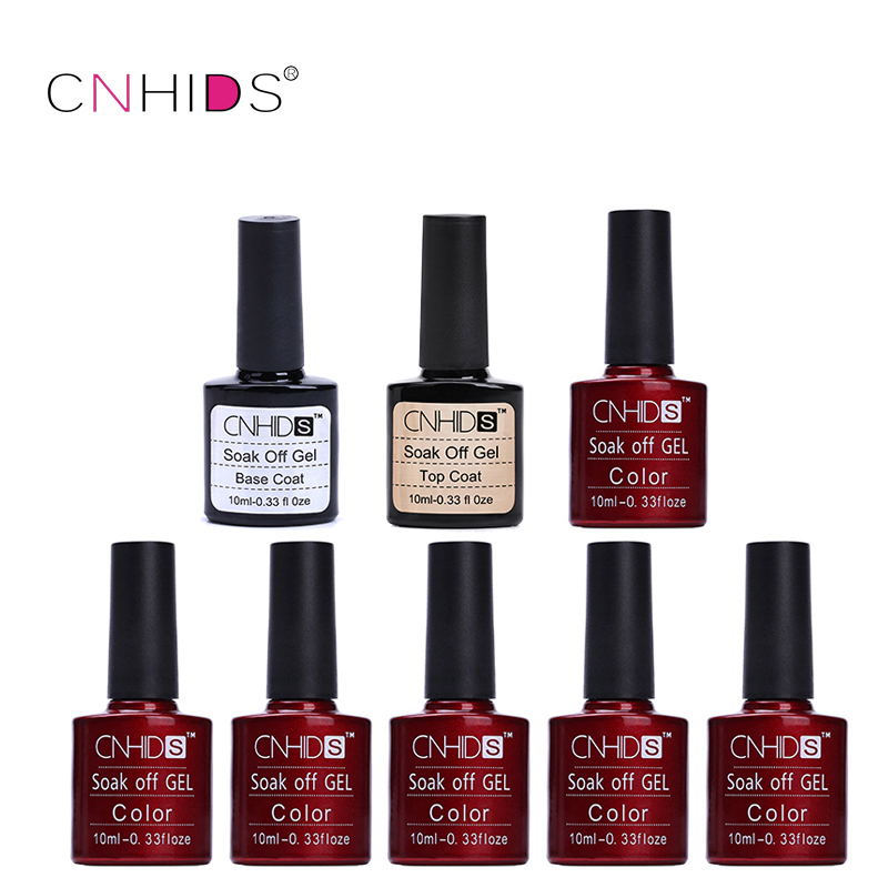 CNHIDS 6 PC Nail Gel Polish Top Coat+ Base Coat LED Shining Colorful 132 Colors10ML Long lasting soak off Varnish cheap Manicure candy lover professional gel nail polish popular classic pastel colors set with clear base coat