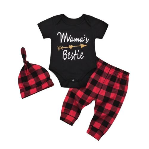 3PCS Fashion Newborn Kids Baby Boys Girls Mamas Bestie Bodysuit Jumpsuit +Plaid Pants+Hat Casual Outfit Clothes Set
