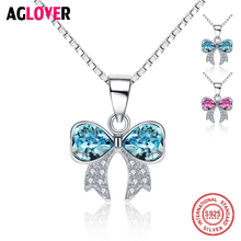 купить Promotional 925 Sterling Silver Heart Necklace Chain Charm Woman Jewelry Austrian Crystal Zircon Butterfly Pendant Necklaces по цене 910.53 рублей